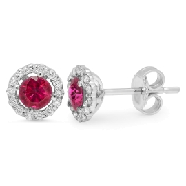 0.90 carat Ruby and Diamond Stud Earrings on 14K White Gold