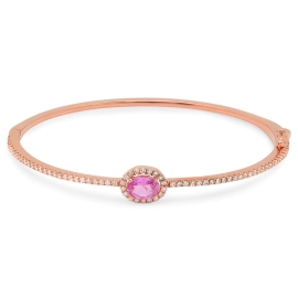 0.91 carat Pink Sapphire and Diamond Bangle on 14K Rose Gold