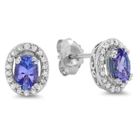 0.93 carat Tanzanite and Diamond Halo Stud Earrings on 14K White Gold