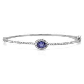 0.95 carat Tanzanite and Diamond Bangle on 14K White Gold