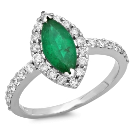0.96ct Emerald and Diamond Ring on 14K White Gold