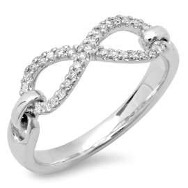 0.17ct Diamond Accent Infinity Ring on 14K White Gold