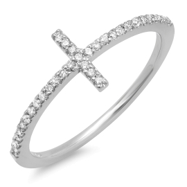 0.28ct Dainty Diamond Cross Ring on 14K White Gold