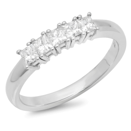0.5ct Five Stone Princess Diamond Ring on 14K Gold
