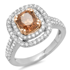 1.03ct Brown Diamond Ring on 14K White Gold
