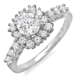 1.08 ctw Diamond Halo Engagement Ring on White Gold