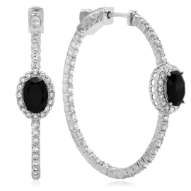 1.0ct Black Onyx and Diamond Earring on 14K White Gold