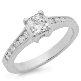 1.11 ctw Princess Cut Engagement Ring on White Gold