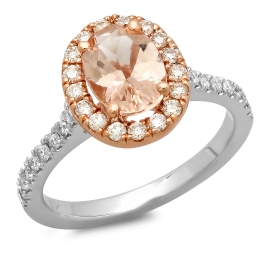 1.11 carat Morganite Ring on 14K Rose Gold & White Gold