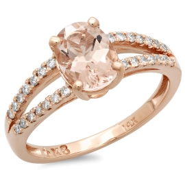 1.11 carat Morganite and Engagement Ring on 14K Rose Gold