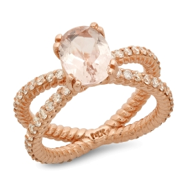 1.14 carat Oval Morganite Ring on 14K Rose Gold
