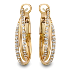 1.16 carat Multi Hoop Diamond Earrings on 14K Yellow Gold