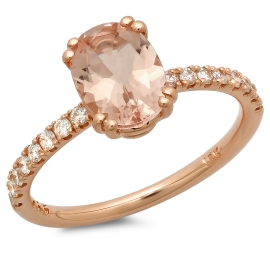 1 carat Morganite and Diamond Ring on 14K Rose Gold