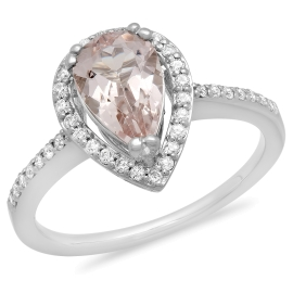 1 carat Pear Morganite and Diamond Thin Ring on White Gold
