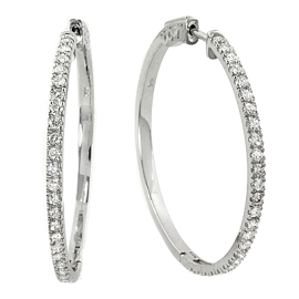 1.18ct Diamond Hoop Earrings on 14K White Gold