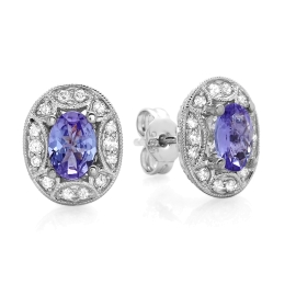 1.20 carat Tanzanite and Diamond Stud Earrings on 14K White Gold