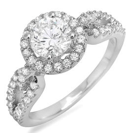 1.22 ctw Split Shoulder Diamond Engagement Ring on White Gold