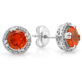 1.22ct Fire Opal and Diamond Halo Earrings on 14K White Gold