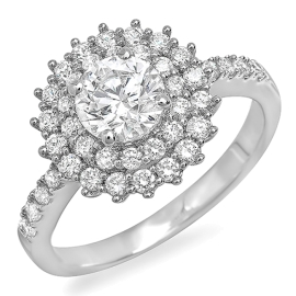 1.3 ctw Double Halo Engagement Ring on White Gold