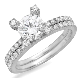 1.31 ctw Brilliant Cut Diamond Bridal Set Rings on White Gold
