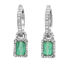 1.37 carat Green Tourmaline and Diamond Drop Earrings on White Gold