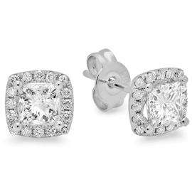 1.38 ctw Princess Cut Diamond Stud Earrings on 14K White Gold
