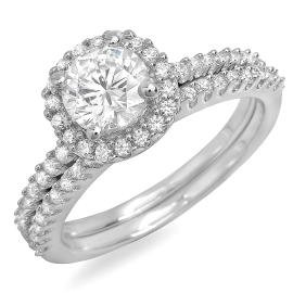 1.41 ctw Diamond Halo Bridal Set Rings on White Gold