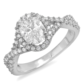 1.41 ctw Oval Cut Diamond Twist Engagement Ring on White Gold