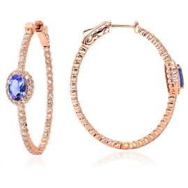 1.41ct Tanzanite and Diamond Hoop Earrings on 14K Rose Gold