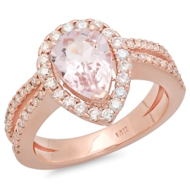 1.42 carat Pear Morganite Engagement Ring on 14K Rose Gold