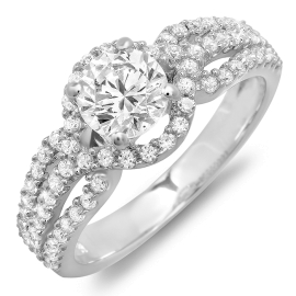 1.43 ctw Three Diamond Band Engagement Ring on White Gold