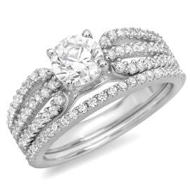 1.54 ctw Brilliant Cut Split Shoulder Ring Bridal Set on White Gold