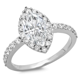 1.56 ctw Marquise Cut Engagement Ring on White Gold