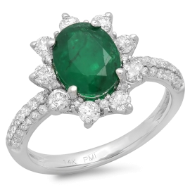1.56ct Emerald and Diamond Ring on 14k White Gold