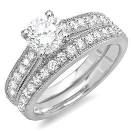 1.69 ctw Brilliant Cut Diamond Ring Bridal Set on Milgrain White Gold