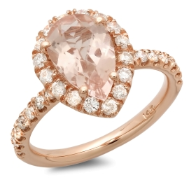 1.69 carat Pear Cut Morganite and Diamond Ring on 14K Rose Gold
