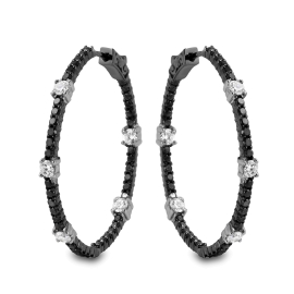 1.77 carat Black Diamond Hoop Earrings on 14K Gold