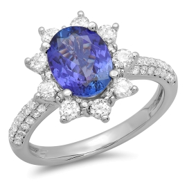 1.78ct Tanzanite and Diamond Ring on 14k White Gold