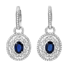 1.89 carat Blue Sapphire and Diamond Earrings on White Gold