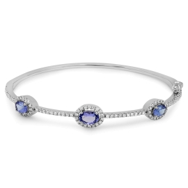 1.91 ct Tanzanite & Diamond Bangle on 14K White Gold