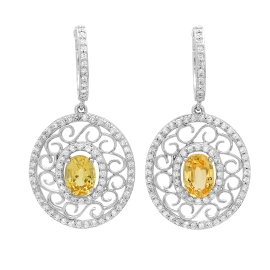1.96 carat Yellow Sapphire and Diamond Earrings on White Gold