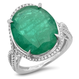 10.57ct Emerald and Diamond Ring on 14K White Gold