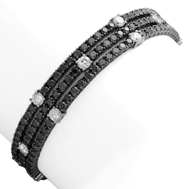 10.66ct Black Diamond Bracelet on 14K White Gold