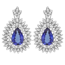 10.7ct Tanzanite and Diamond Earrings on 14K White Gold
