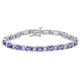 11.08 carat Tanzanite and Diamond Bracelet on 14K White Gold