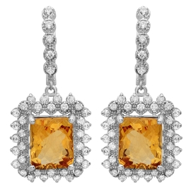 11.5 carat Citrine and Diamond Drop Earrings on 14K White Gold