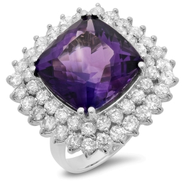 11.7ct Amethyst and Diamond Ring on 14k White Gold