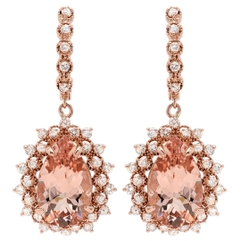 12.06 carat Morganite and Diamond Drop Earrings on Rose Gold