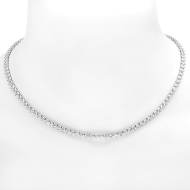 12.5ct Diamond Tennis Necklace on 18K White Gold