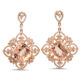 15.87 carat Morganite and Diamond Earrings on 14K Rose Gold